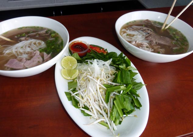 Pho and accompaniments