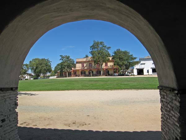 Looking through the archway across the main plaza to the barracks made for the soldiers