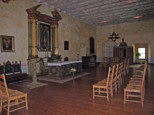 Small restored adobe chapel