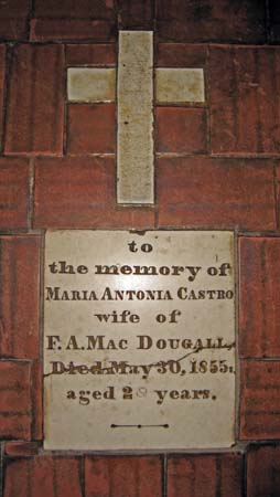 Memory plaque in the floor of the church