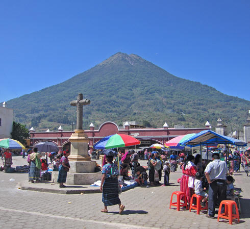 Open plaza with Volcan de Agua in the background