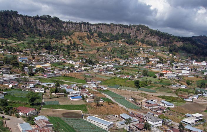 Panoramic view of Concepcion surrounded by steep walls