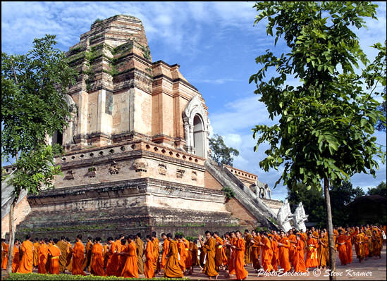 Temple Monks Gather at Chedi Luang, Chiang Mai, Thailand