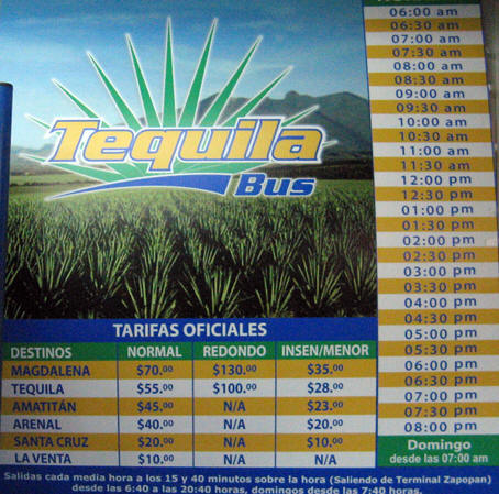 The Tequila Bus line schedule