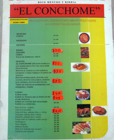 A sample menu from one of the fondas