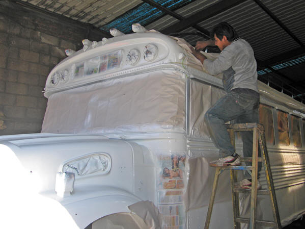 You see that the bus is being masked getting it ready for the super-duper paint job!