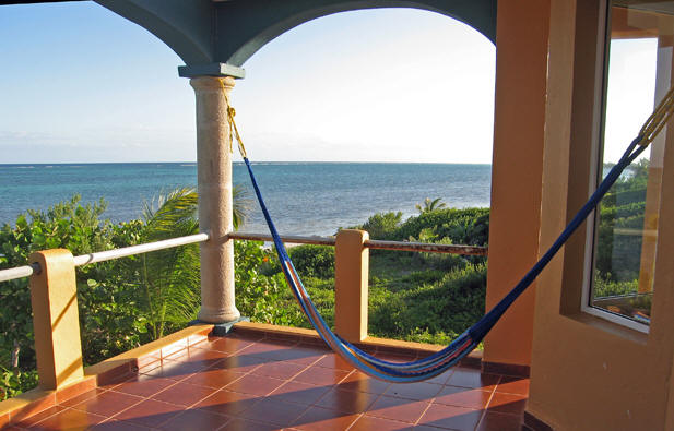 A view of the ocean from a second story hammock